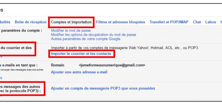 Importer le courrier et les contacts