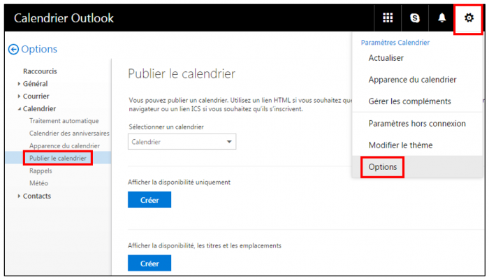 Publier le calendirer Outlook