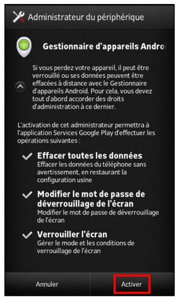 Activer le gestionnaire d'appareils Android