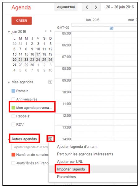Importer des agendas entre Outlook et Gmail - Importer un agenda dans Gmail