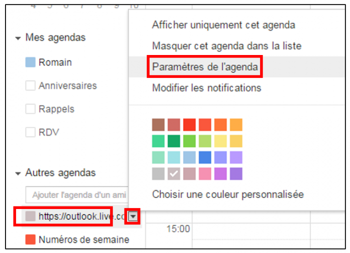 Renommer l'agenda Outlook dans Gmail