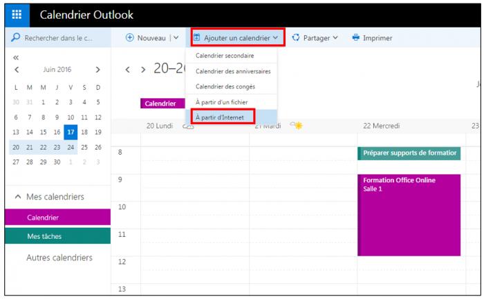 Ajouter le lien ical dans le calendrier Outlook