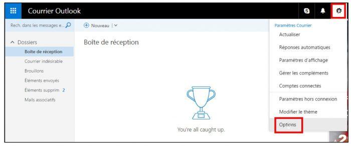 Accéder aux options d'Outlook