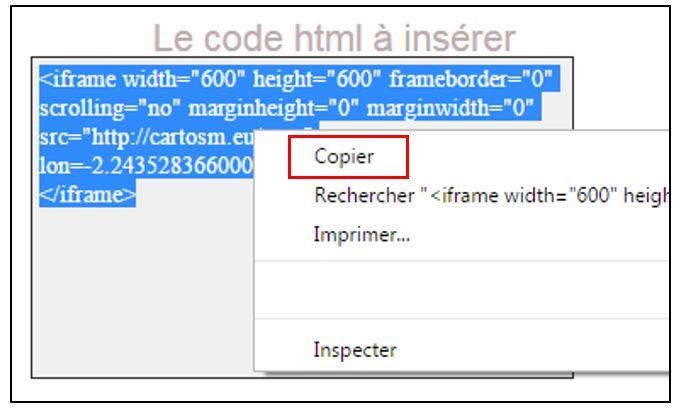 Recopier le code html
