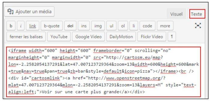 Coller le code html sur un site