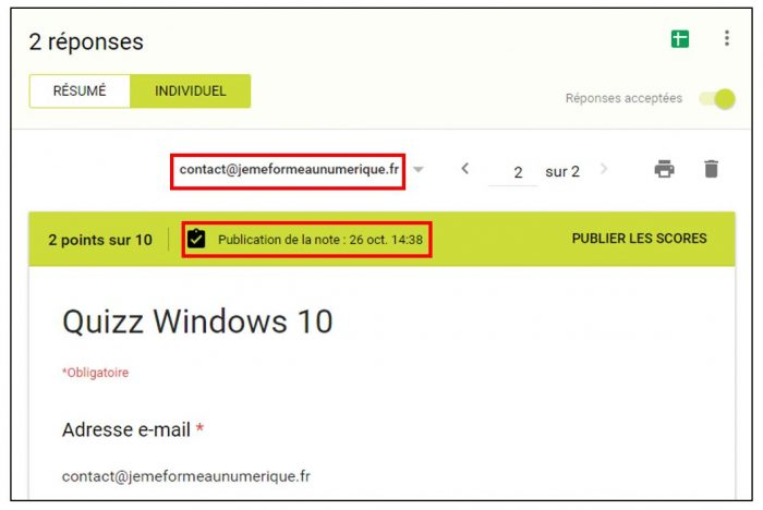 Visualiser la date de publication des notes