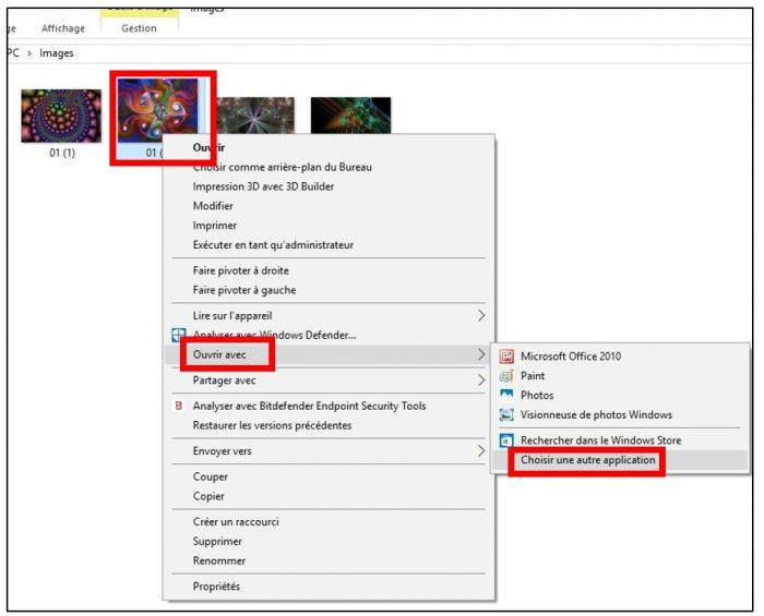Choisir la visionneuse photos standard comme application par défaut