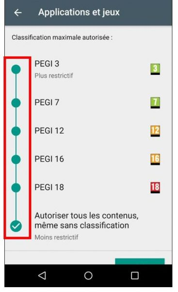 Restrictions sur les applications et jeux