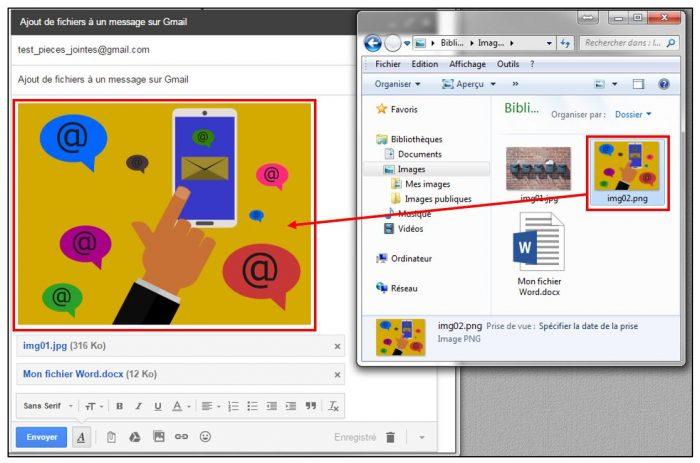 Aperçu d'un fichier intégré au contenu du mail