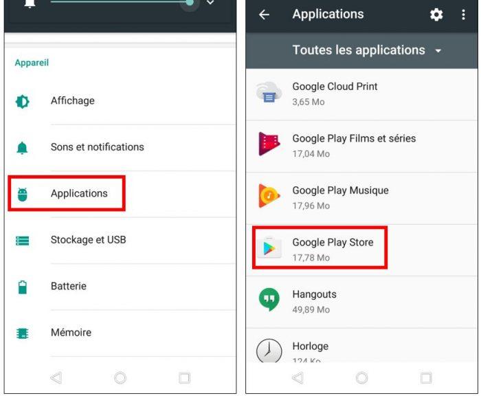 Effacer les données Google Play