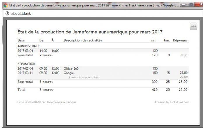 Editer un état de production