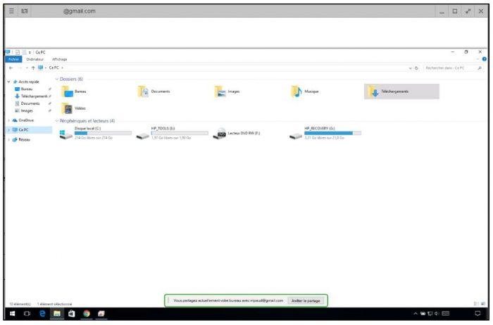 Fenêtre de l'ordinateur contrôlé