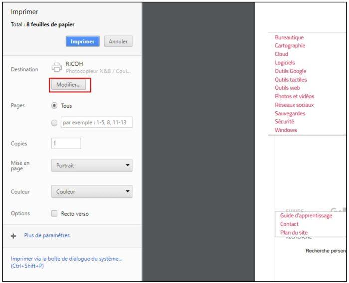 Modifier l'imprimante de Google Chrome