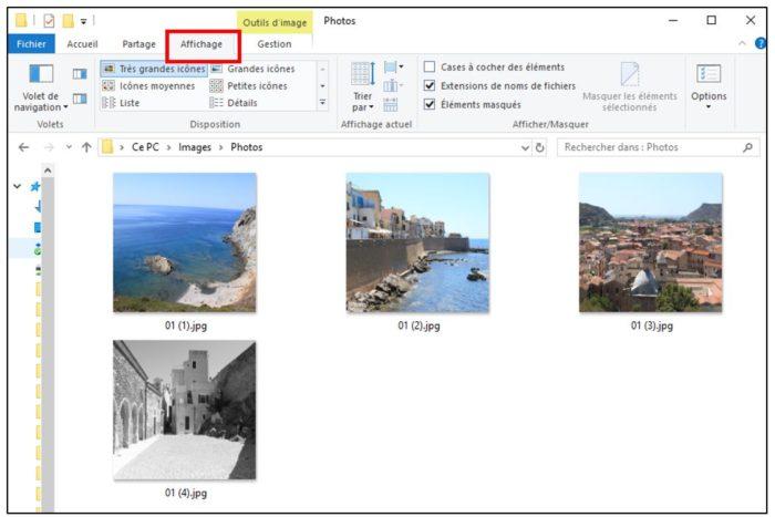 Onglet affichage de l'explorateur Windows