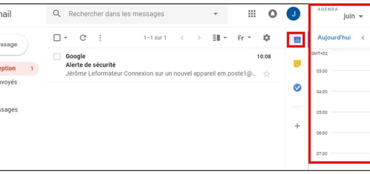 nouvelle version gmail agenda intégré