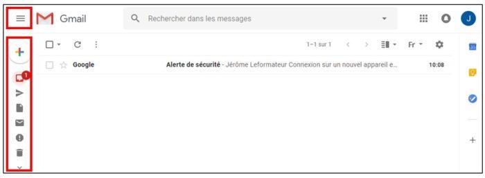 nouvelle version gmail diminuer barre dossiers