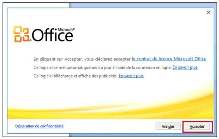 Premier démarrage d'Office Starter