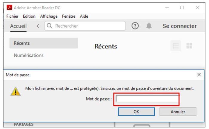 Ouvrir un fichier protégé par mot de passe