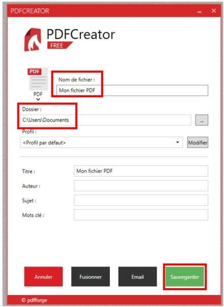Créer un PDF