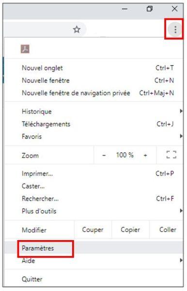 Paramètres de Chrome