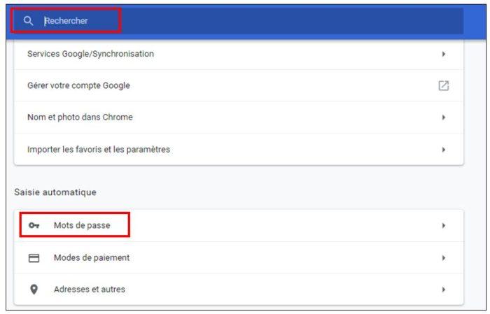 Gestionnaire de mots de passe sous Chrome