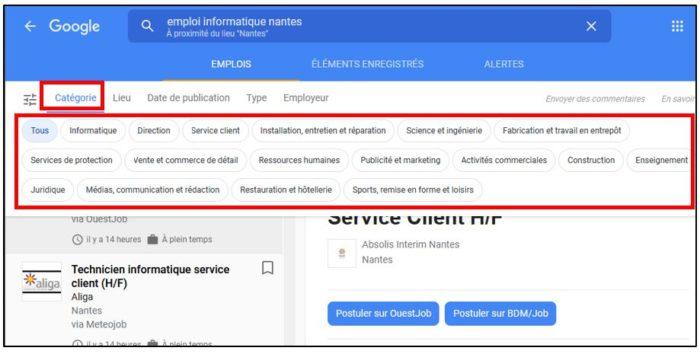 recherche emploi google par categorie