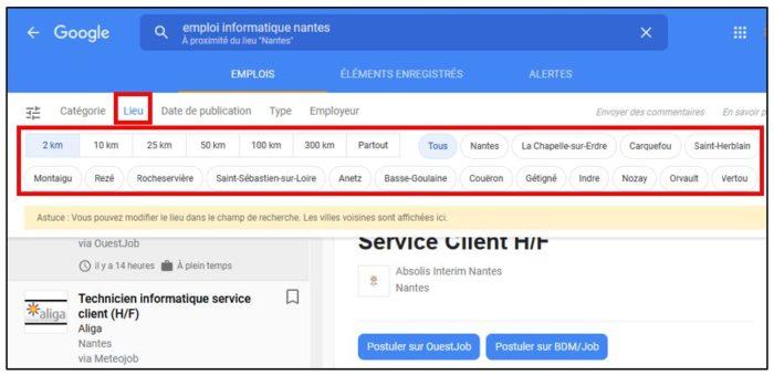 Recherche d'emploi Google par lieu
