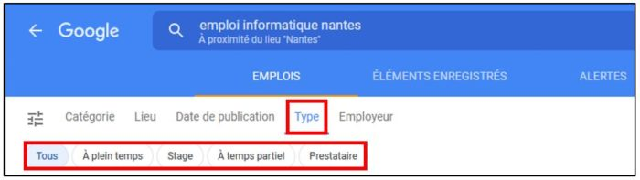 Recherche d'emploi Google par type