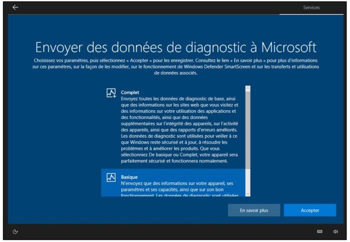 Paramétrage des données envoyées à Microsoft
