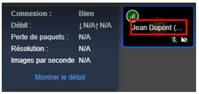 Information sur la qualité vidéo