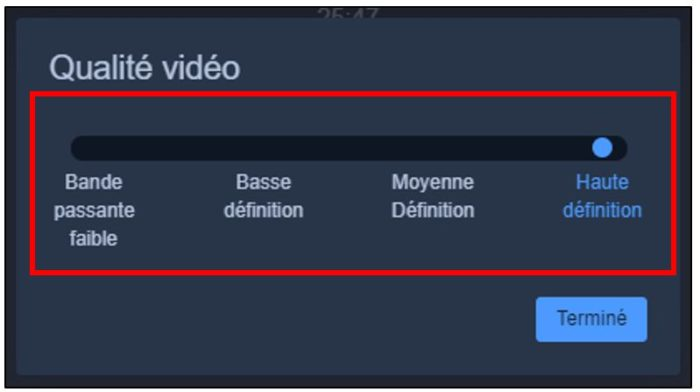 Modifier la qualité vidéo